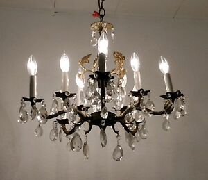 Vintage 10 Light Spanish Brass Chandelier Lots If Tear Drop Crystals 5 Arms