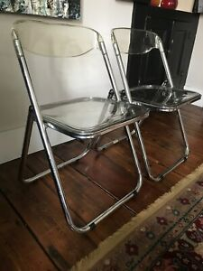 Pair 2 Of Vintage Clear Folding Lucite And Chrome Chairs