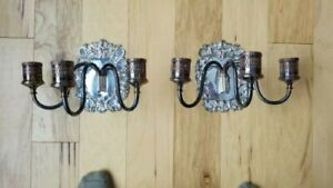 2 Antique Candle Silver Plate Wall Sconce Lawrence B Smith With London Hallmark
