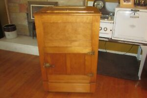 Antique Hard Maple Wallace Manufacturing Co Ice Box Refrigerator Rare 1001