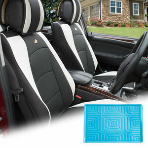 Pu Leather Seat Cushion Covers Front Bucket White W Blue Dash Mat For Auto