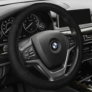 Steering Wheel Cover Belt Pads Combo Set For Auto Car Suv Van Solid Black