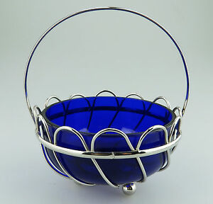 Antique Silver Plate A Lovely Cobalt Blue Glass Wired Dish Bowl C 1900