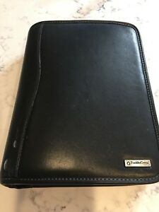 Franklin Covey Planner Binder Black Leather 8 X 11 Zippered 7 ring Euc