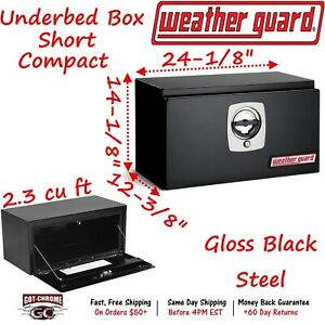 525 5 02 Weather Guard Black Steel Compact Underbed Box 24 Truck Toolbox