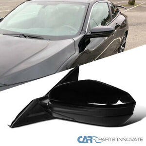 For Honda 16 18 Civic Glossy Black Abs Driver Left Power 3 Pin View Side Mirror