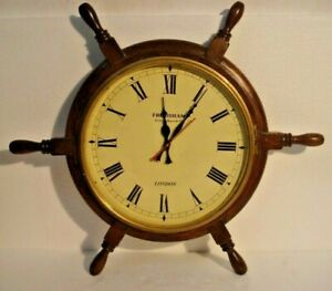 Large Vintage Style London Wall Clock Wooden Brass 2801