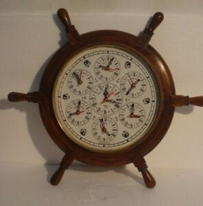 Large Made For Royal Navy 7 Country Wall Clock Wooden Brass 2799