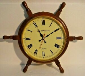 Large Vintage Style London Wall Clock Wooden Brass 2800