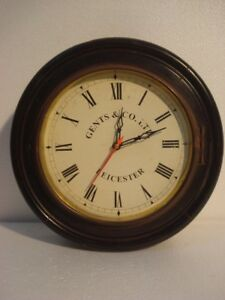 Large Vintage Style Gents Co Leicester Wall Clock Wooden Brass 2798