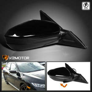 For 16 18 Civic Glossy Black Power 3 pin Right Passenger Side Mirror 1pc