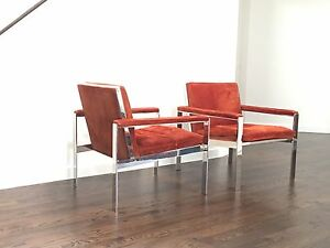 Pair Of Mid Century Milo Baughman Chrome Armchairs In Orange Suede Upholstery