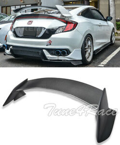 For 16 Up Honda Civic Coupe Carbon Fiber Rear Trunk Lip Spoiler Type R Style