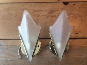 Mid Century Modern Art Deco Architectural Style Frosted Glass Wall Sconces
