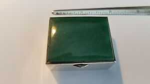 Sterling Silver Snuff Pill Box With Jade Green Stone Top 46 5 Grams