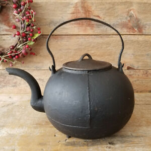 Antique 1700 S Primitive Cast Forged Iron Large Ball Shaped Water Tea Kettle