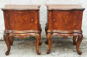 Vintage Pair Of Italian Bombay Burl Walnut Inlaid Night Stands End Tables