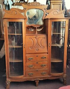 Vtg Tiger Oak Double Side By Side Bowed Glass Secretary Desk China Bookcase La