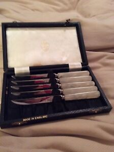 Antique Vtg Sheffield England Mother Of Pearl Handle Fruit Knives Boxed Set 5