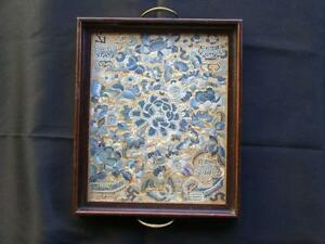 Qing Dynasty Silk Embroidery Peking Stitch In Serving Tray Old Missionary Family