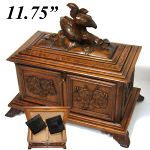 Large Antique Black Forest Carved Double Well Tea Caddy Figural Bird Grouping