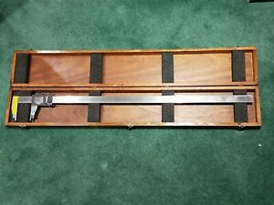 Nice Brown And Sharpe 001 Vernier Caliper 36 37 Inch Model 570 W Wood Box