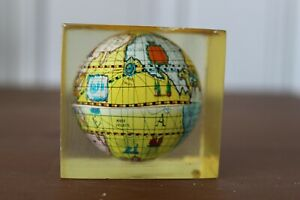 Vintage Mid Century Miniature Globe In Lucite Acrylic Paperweight Desk Top