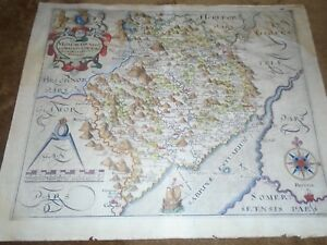 Saxton Hole 1610 Ish Original Hand Coloured Map Of Herefordshire Earliest Map