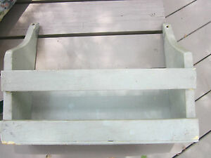 Antique Vintage Wood Wall Shelf With Slat Front Angled Sides Painted
