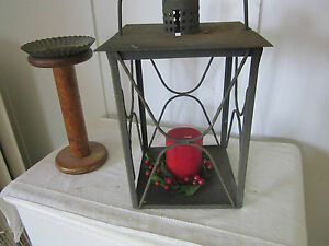 Primitive Tin Metal Lantern Has Handle And Design On Sides No Glass
