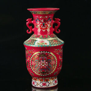 China Old Colorful Porcelain Hand Painted Flowers Vase As The Qianlong Period Rt