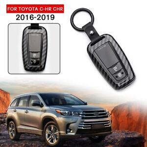 Black Remote Key Case Cover For Toyota Camry 2018 2019 Carbon Fiber Style