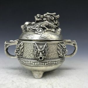 Exquisite Manual Sculpture Dragon Statue Tibet Silver Incense Burner Xuande Mark