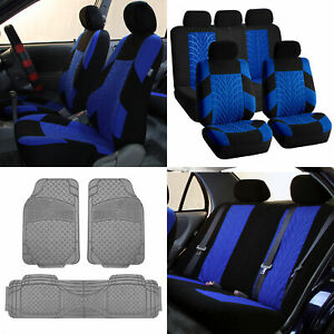 Car Seat Seat Covers Blue Sport Line W Gray Floor Mats Combo