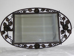 Beautiful Art Deco Wrought Iron French Bevelled Mirror Intricate Roses Flowers