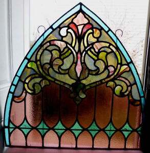 Antique Church Stained Glass Window Architectural Salvage Gothic Arch 3963h