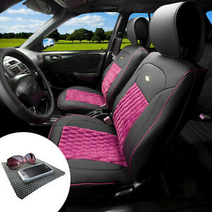 Front Bucket Luxury Seat Covers Pu Leather Set Pink W Dash Mat