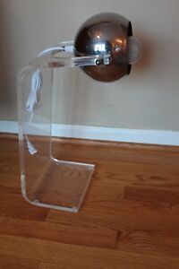 Lucite And Chrome Eyeball Globe Table Lamp Sonneman Kovacs Space Age