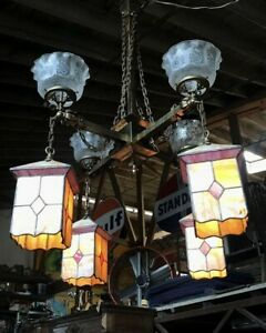 Antique Stained Leaded Slag Glass Mission Style Brass Gasolier Chandelier C 1900