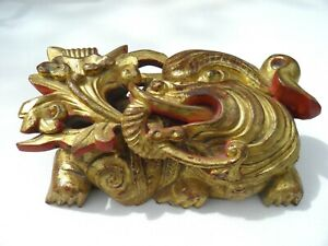 20c Chinese Hand Carved Golden Dragon Dog Wood Sculpture Asian Oriental Folkart