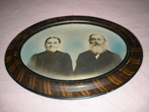 Antique Large Oval Wood Picture Frame Tiger Striped Wood 25 X 19 25 No Glass