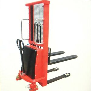 Forklift Stacker Pallet Jack Battery Operated 2200 Lbs Cap Lift 63 New