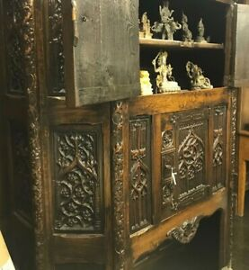 19th Century French Renaissance Gothic Style Carved Oak Cupboard