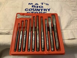 Snap On Tools Usa 11pc Punch And Chisel Set In Red Tray