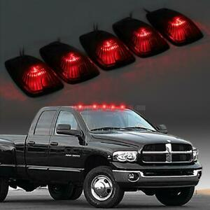 5pc For 88 02 Chevy Gmc Smoke Cab Marker Clearance Light Red 5 5050 161 Led Base