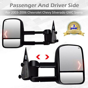 Pair Towing Mirror Power Heated With Arrow Light Set For Gm Pickup Suv New
