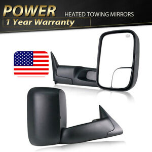 For 98 01 Dodge Ram 1500 2500 3500 Extendable Flip Up Power Heated Towing Mirror