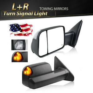 For 2002 2008 Dodge Ram 1500 2500 Power Heated Turn Signal Flip Up Tow Mirror