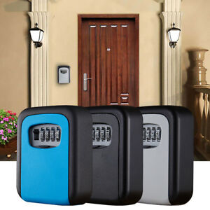 4 Digit Combination Password Safety Key Box Lock Padlock Organizer Wall Mounted