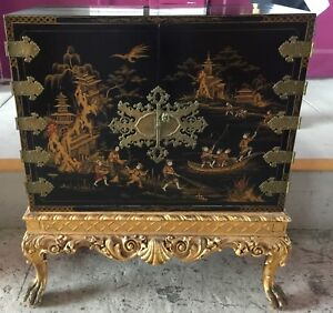 Antique Chinoiserie Chest On Carved Stand